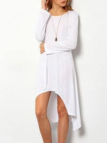 White Round Neck Casual High Low Dress