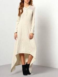 Grey With Lace High Low Casual Dress