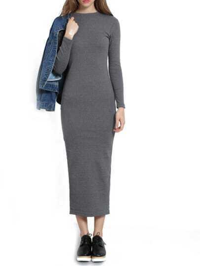 Grey Round Neck Long Sleeve Slim Dress
