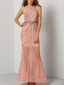 Halter Open Back Maxi Dress