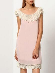 Pink Blush Sleeveless With Lace Babydoll Dress