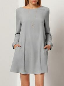 Grey Concert Long Sleeve Informal Casual Dress