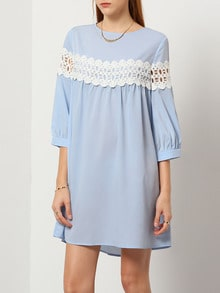 Blue Round Neck Hollow Dress