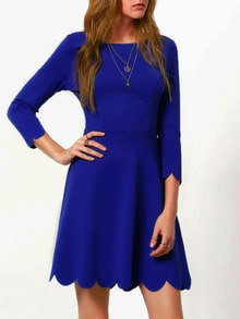 Blue Round Neck Ruffle Dress