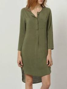 Army Green V Neck Rockabilly Peasant High Low Dress