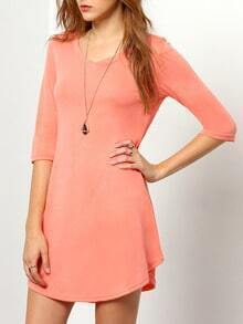 Orange Round Neck Slim Dress