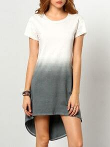 Grey Ombre Round Neck High Low Dress