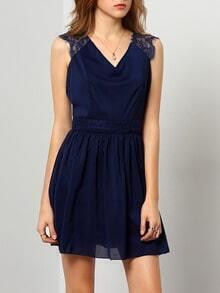 V Neck Backless Lace Chiffon Dress