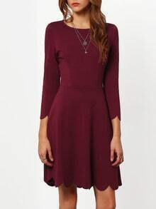 Wine Red Round Neck Ruffle Dress
