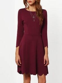 Wine Red Round Neck Ruffle Dress