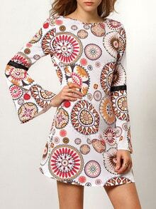 Multicolor Long Sleeve Backless Vintage Print Dress