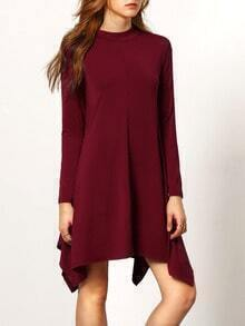 Red Long Sleeve Asymmetric Dress