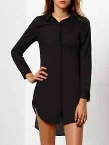 Black Long Sleeve High Low Dress