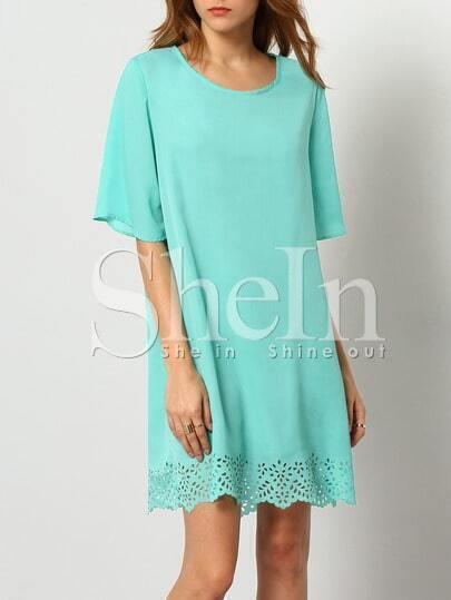 Turquoise Aqua Half Sleeve Hollow Dress