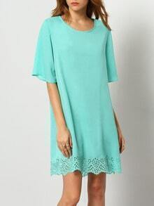 Turquoise Aqua Half Sleeve Hollow Dress