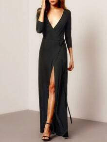 Black Deep V Neck Split Maxi Dress