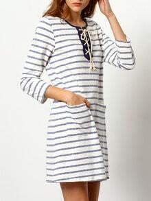 Vestido manga larga rayas -azul blanco