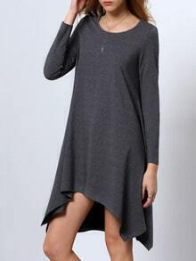Grey Long Sleeve Jumpers Asymmetric Dress