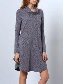 Grey Long Sleeve Casual Dress