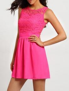 Rose Red Cerise Magenta Lace Insert Hollow A-Line Dress
