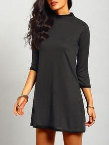 Black High Neck Ruched Loose Dress