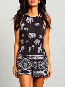 Black Halter Elephant Tribal Print Playsuit