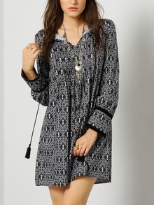 Vintage Print Dress With Fringe