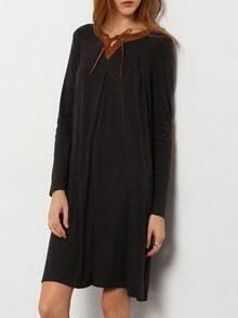 Grey V Neck Casual Dress