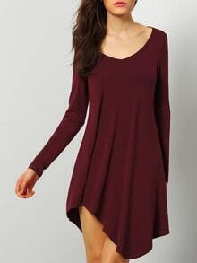 Burgundy Round Neck Casual Dress
