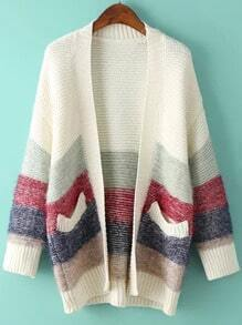 Striped Pockets Loose Beige Coat