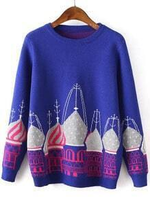 Building Print Blue Sweater