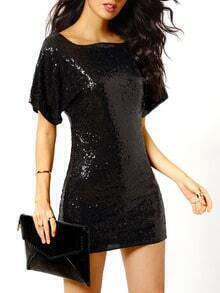 Black Short Sleeve Backless Sequined Dress
