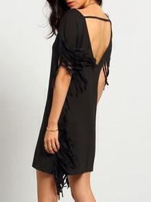 Black Fringe Short Sleeve V Back Tassel Dress