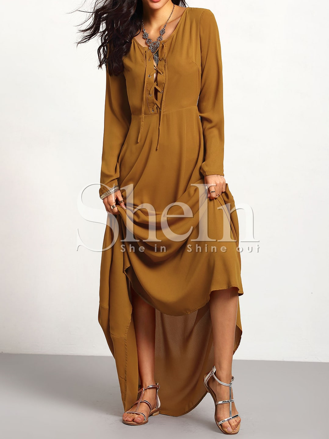 Brown Long Sleeve Lace Up Maxi Dress -SheIn(Sheinside)