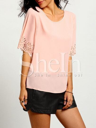Pink Short Sleeve With Lace T-Shirt