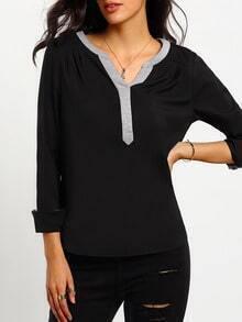 Black Long Sleeve V Neck Blouse