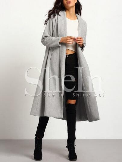 Grey Long Sleeve Lapel Pockets Oversized Coat