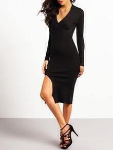 Black V Neck Slim Split Knit Dress