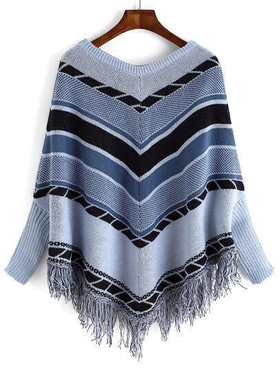 Jersey cuello redondo rayas -azul gris