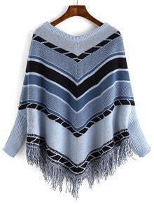Blue Grey Round Neck Batwing Striped Cape Sweater