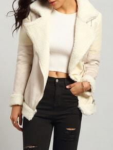 Beige Long Sleeve Faux Fur Lapel Outerwear