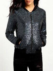 Blue Long Sleeve Sequined Jacket
