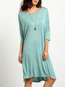 Blue Round Neck Casual Dress