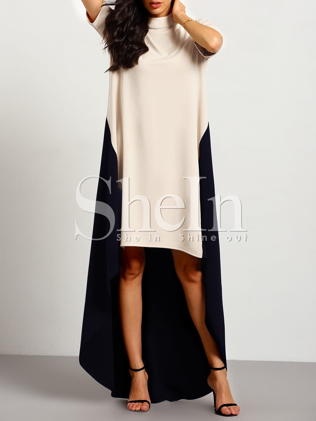 Color Block High Low Dress color block belted high low dress