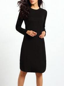 Black Round Neck Split Loose Dress