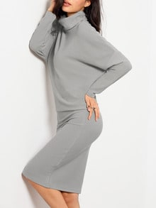 Grey Batwing Sleeve High Neck Dress