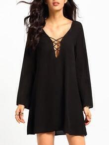 Black Long Sleeve Shift Blouson Dress