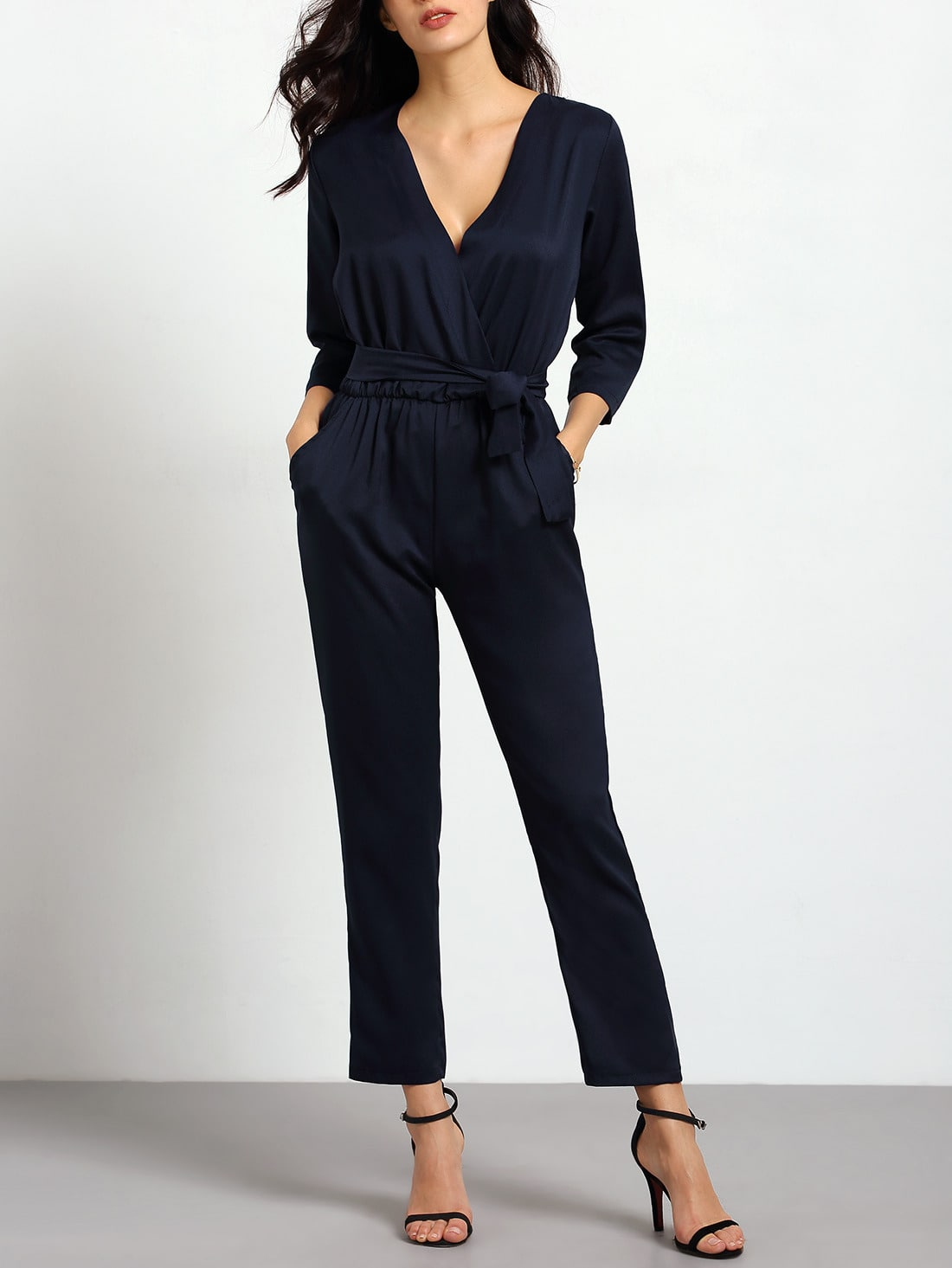 Royal Blue V Neck Pockets Jumpsuit
