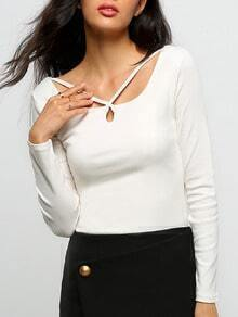 White Cross Front Long Sleeve Crop T-Shirt