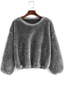 Grey Round Neck Loose Crop Sweatshirt